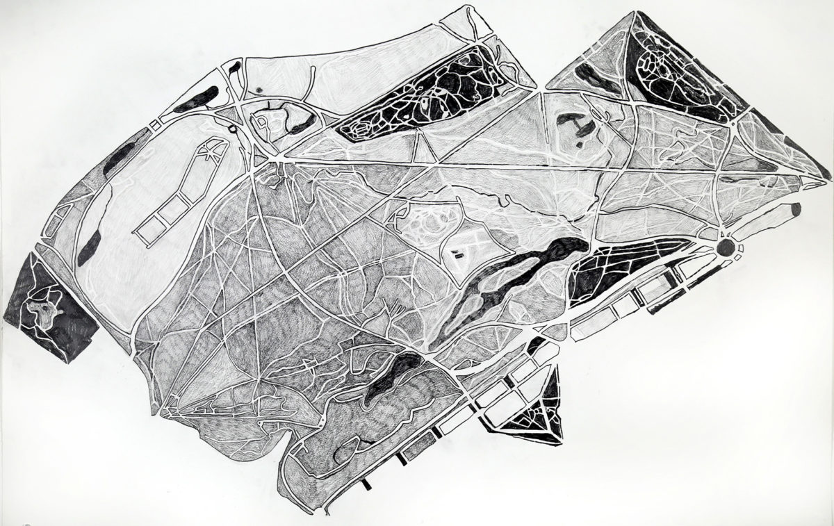 Drawing of Paris by Myrel Chernick